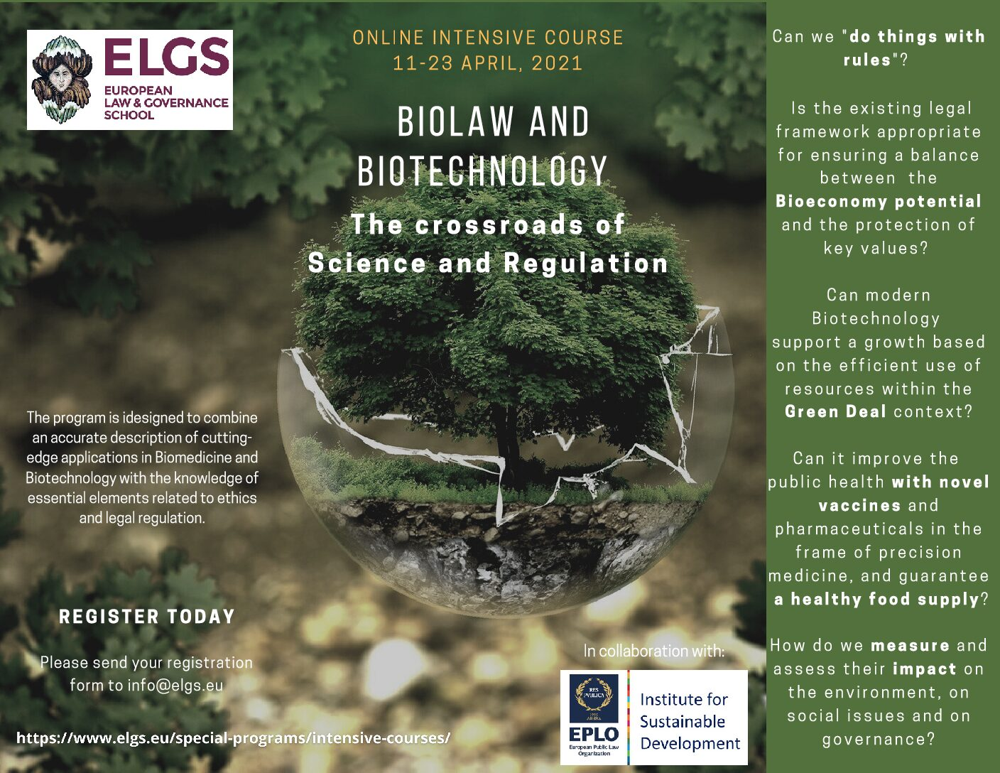 Biolaw And Biotechnology:The Crossroads Of Science And Regulation, Online Course April 11 – 23, 2021